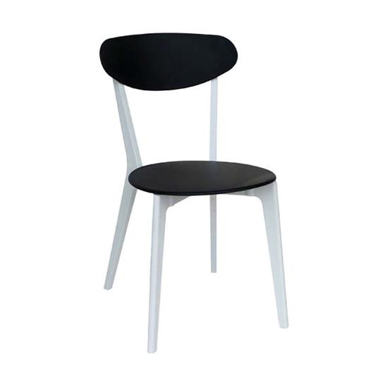 Εικόνα από Καρέκλα Πολυπροπυλενίου 4τμχ Silvana Μαύρο Λευκό 43X57X82εκ.