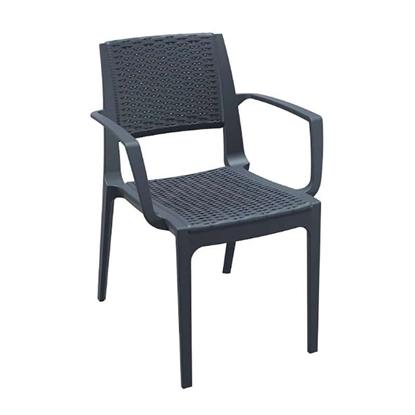 Εικόνα της Καρέκλα Πολυπροπυλενίου 22τμχ Capri Dark Grey 58Χ62Χ82εκ.
