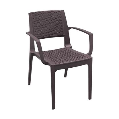 Εικόνα της Καρέκλα Πολυπροπυλενίου 22τμχ Capri Brown 58Χ62Χ82εκ.