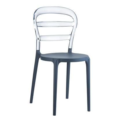Εικόνα της Καρέκλα Πολυπροπυλενίου Ακρυλική 4τμχ Bibi Dark Grey Clear Transparent 42X50X85εκ.