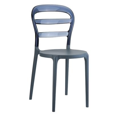 Εικόνα της Καρέκλα Πολυπροπυλενίου Ακρυλική 4τμχ Bibi Dark Grey Smoke Grey Transparent 42X50X85εκ.