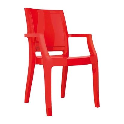 Εικόνα της Πολυθρόνα Ακρυλική 4τμχ Arthur Glossy Red 56X60X91εκ.