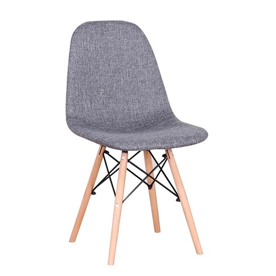 Picture of Καρέκλα Ξύλινη 4τμχ Lily Γκρί Ύφασμα 48Χ55Χ82εκ.