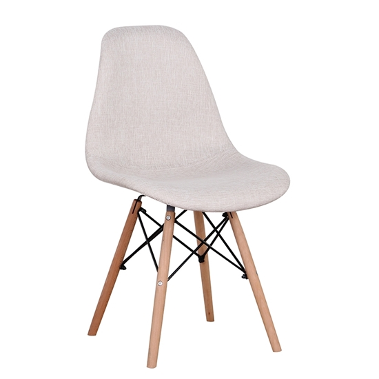 Picture of Καρέκλα Ξύλινη 4τμχ Lily Μπέζ Ύφασμα 48Χ55Χ82εκ.