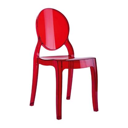 Εικόνα της Καρέκλα Ακρυλική 4τμχ Baby Elizabeth Red Transparent 30Χ34Χ63εκ.